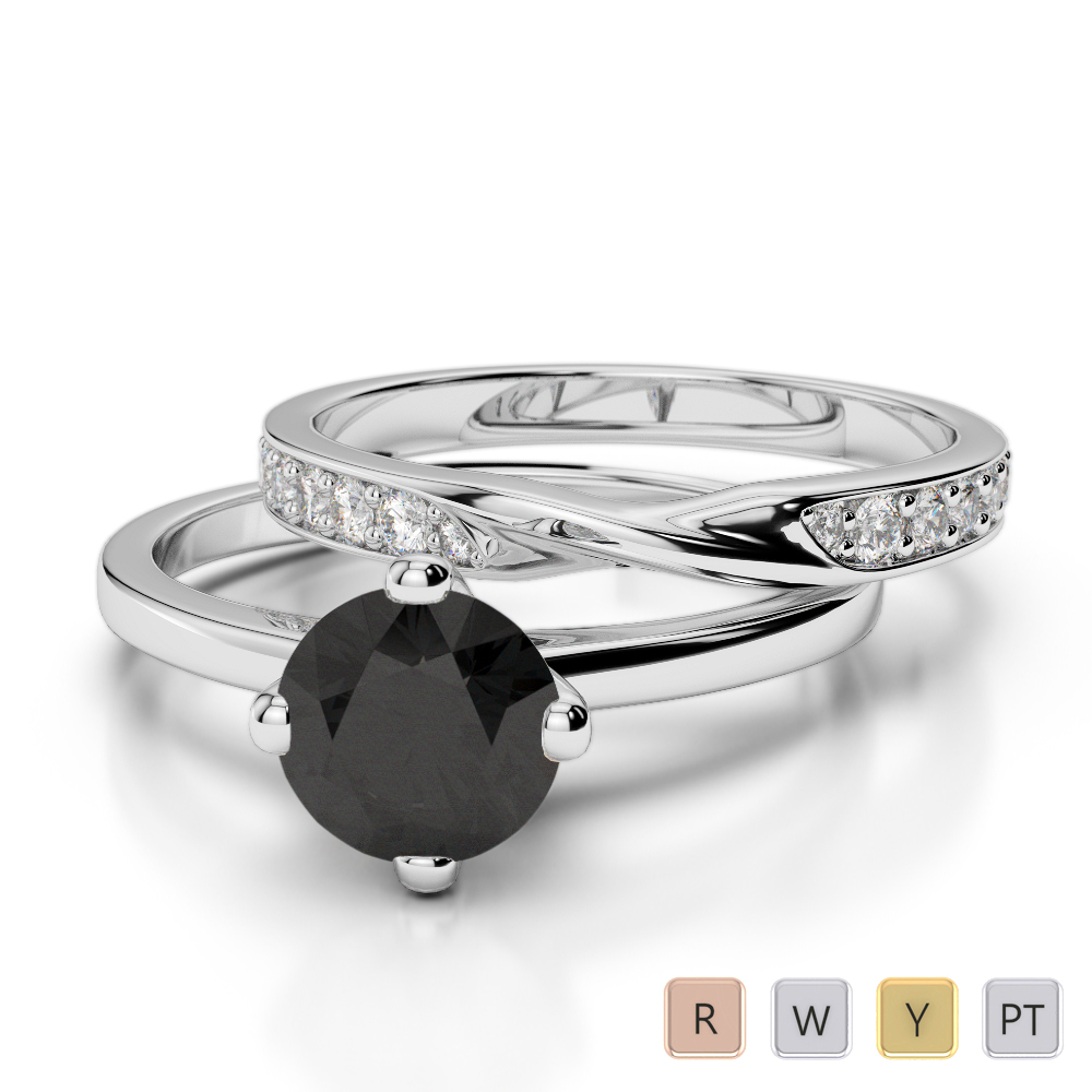 Gold / Platinum Round cut Black Diamond with Diamond Bridal Set Ring AGDR-2027