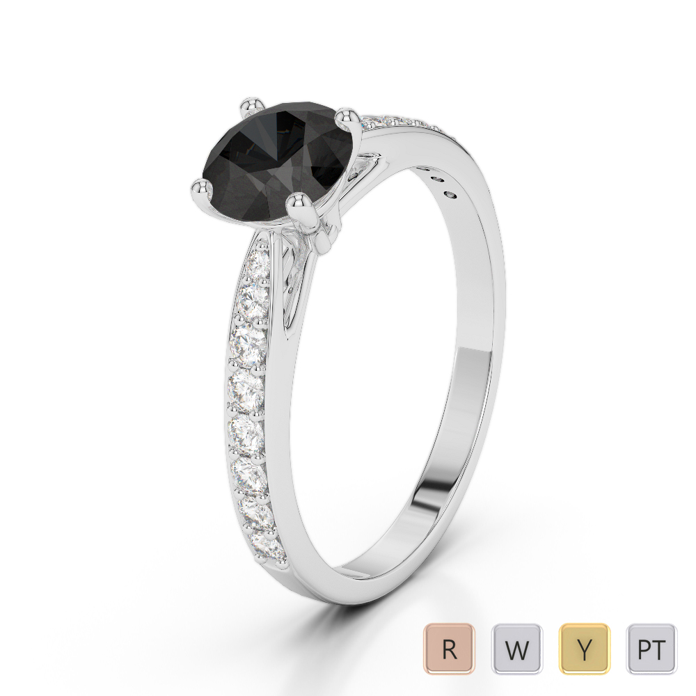 Gold / Platinum Round Cut Black Diamond with Diamond Engagement Ring AGDR-2032