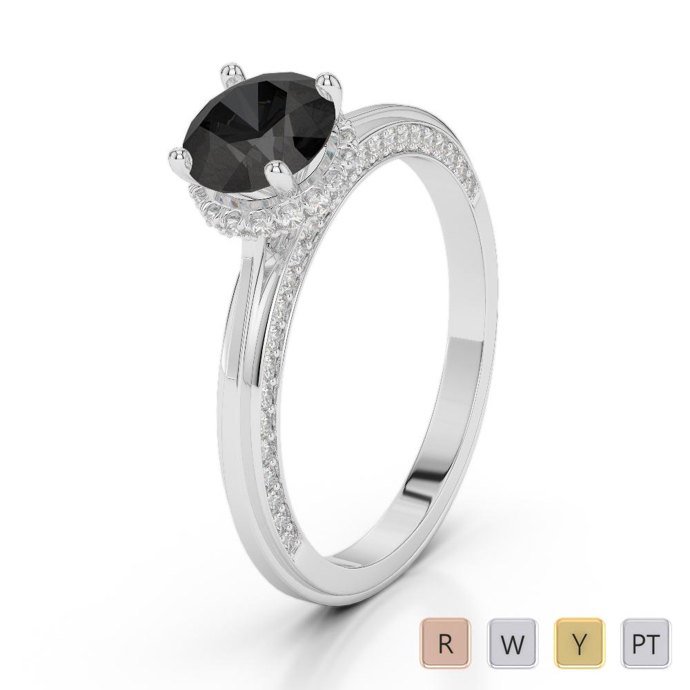 Gold / Platinum Round Cut Black Diamond with Diamond Engagement Ring AGDR-2034