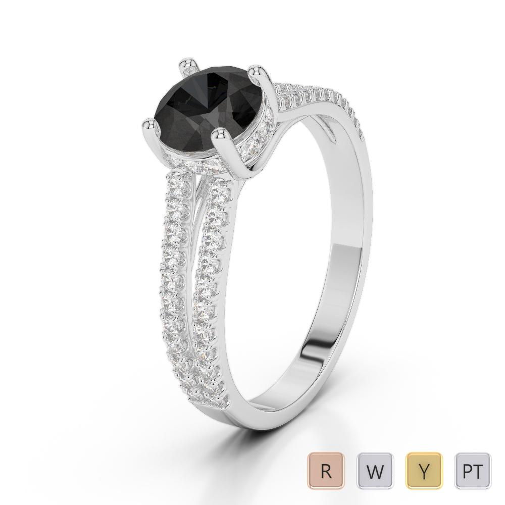 Gold / Platinum Round Cut Black Diamond with Diamond Engagement Ring AGDR-2036
