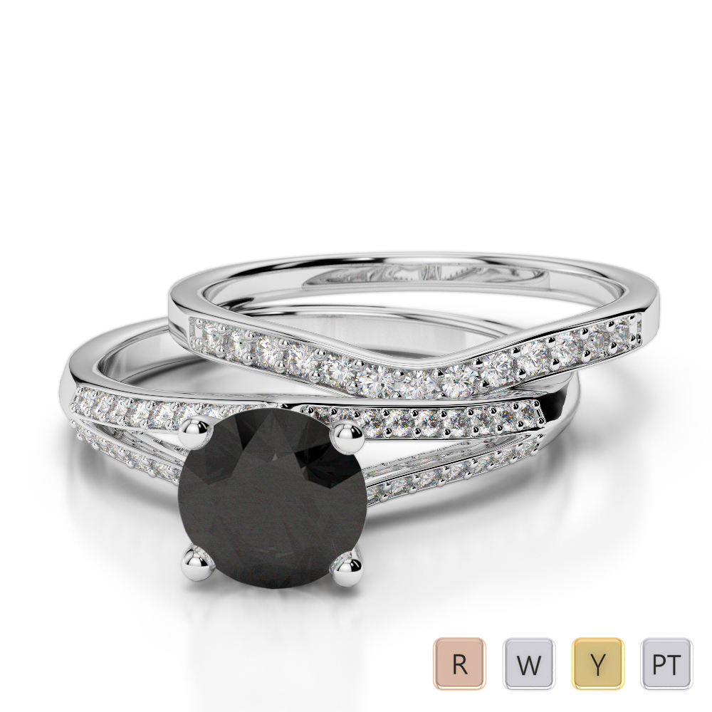 Gold / Platinum Round cut Black Diamond with Diamond Bridal Set Ring AGDR-2037