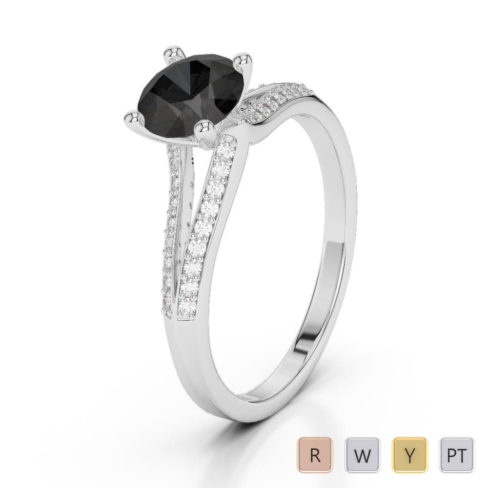 Gold / Platinum Round Cut Black Diamond with Diamond Engagement Ring AGDR-2038