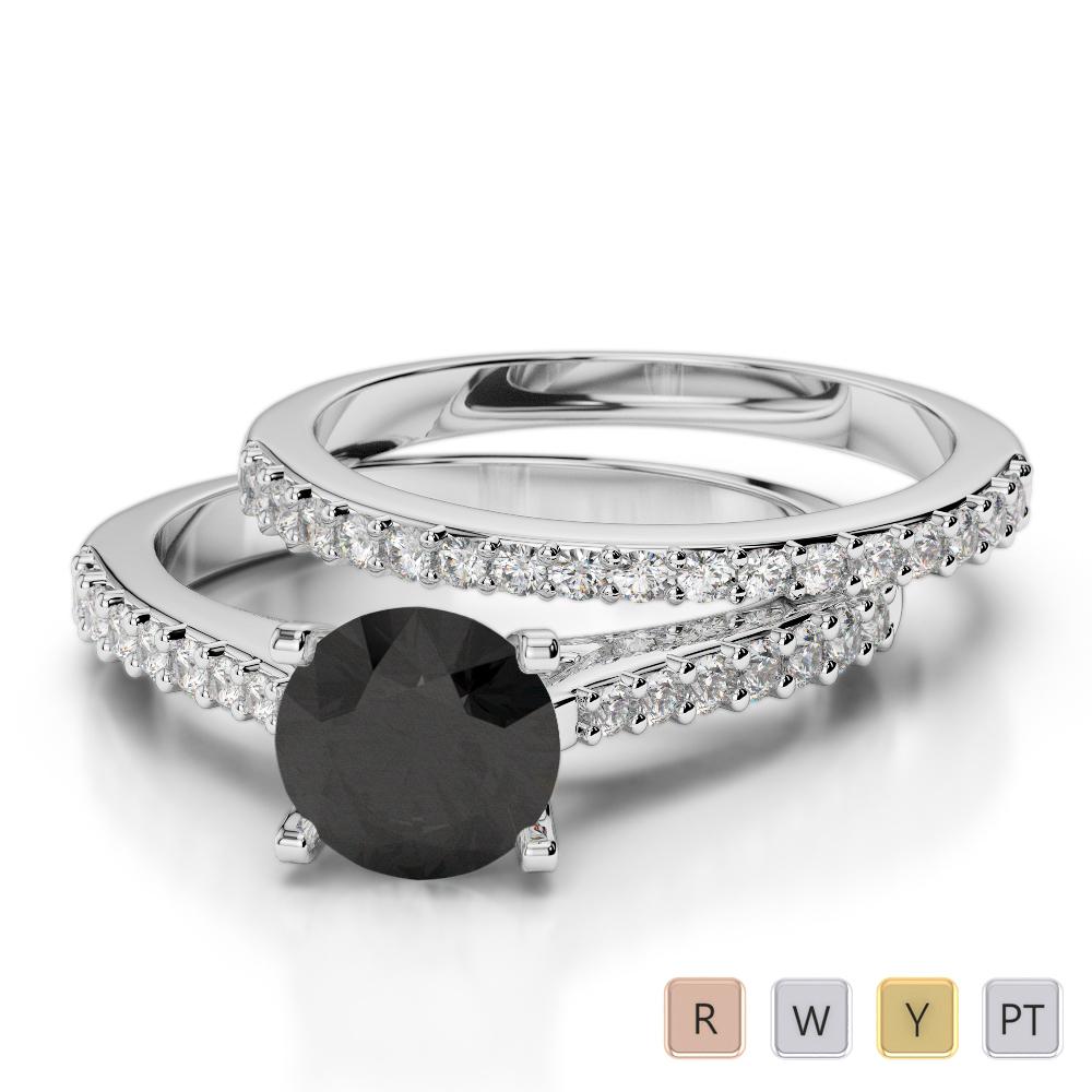 Gold / Platinum Round cut Black Diamond with Diamond Bridal Set Ring AGDR-2039