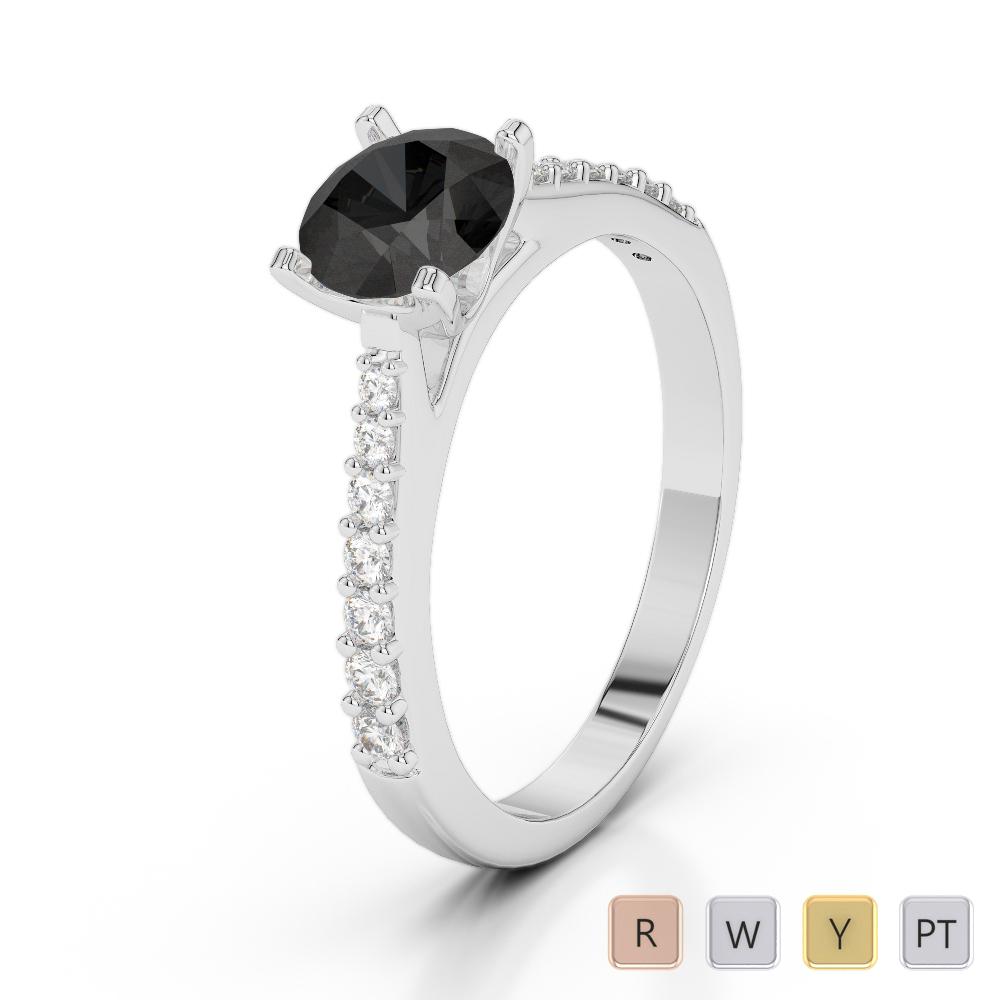 Gold / Platinum Round Cut Black Diamond with Diamond Engagement Ring AGDR-2040