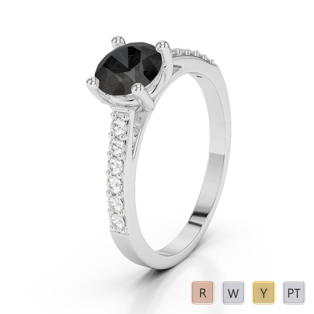 Gold / Platinum Round Cut Black Diamond with Diamond Engagement Ring AGDR-2042