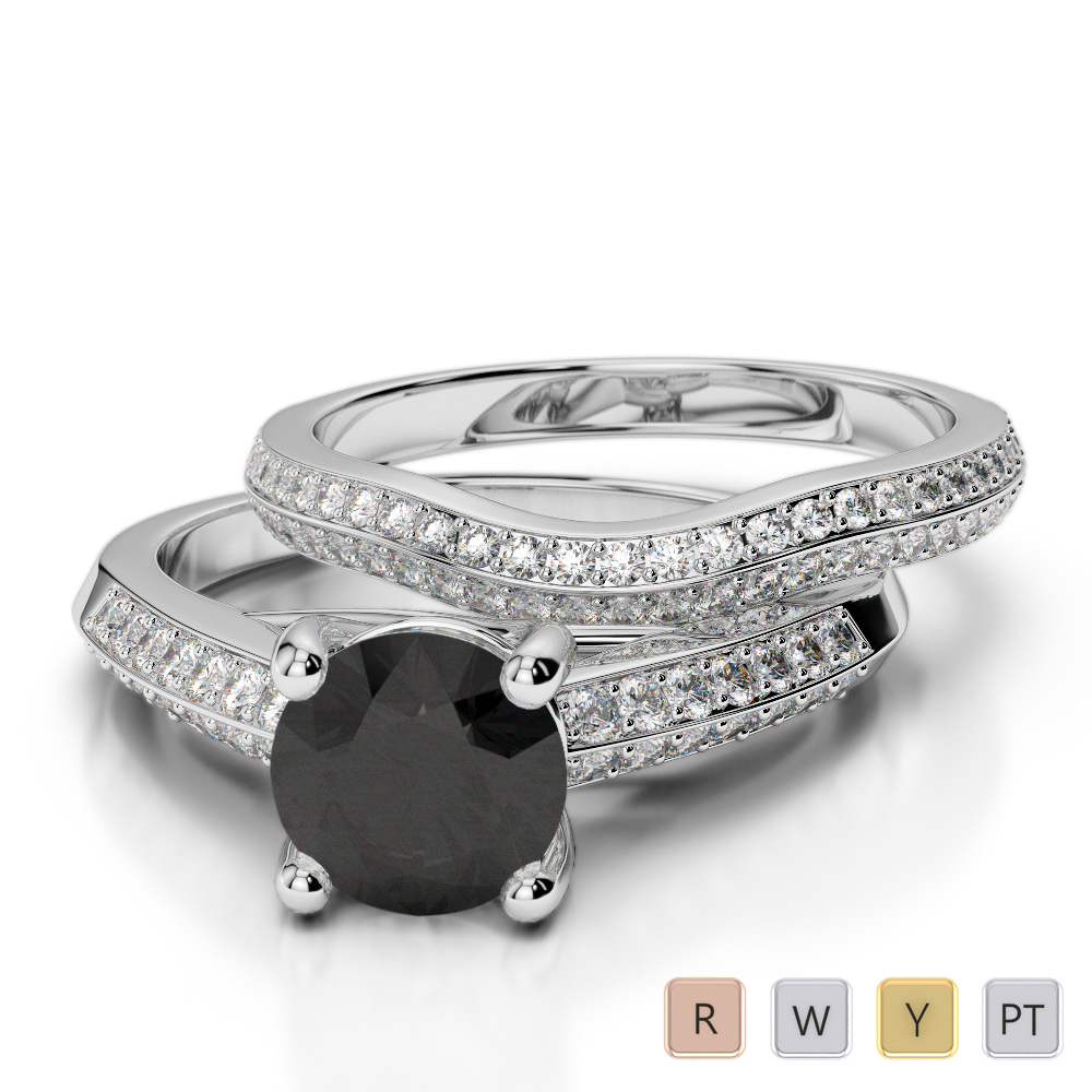 Gold / Platinum Round cut Black Diamond with Diamond Bridal Set Ring AGDR-2043