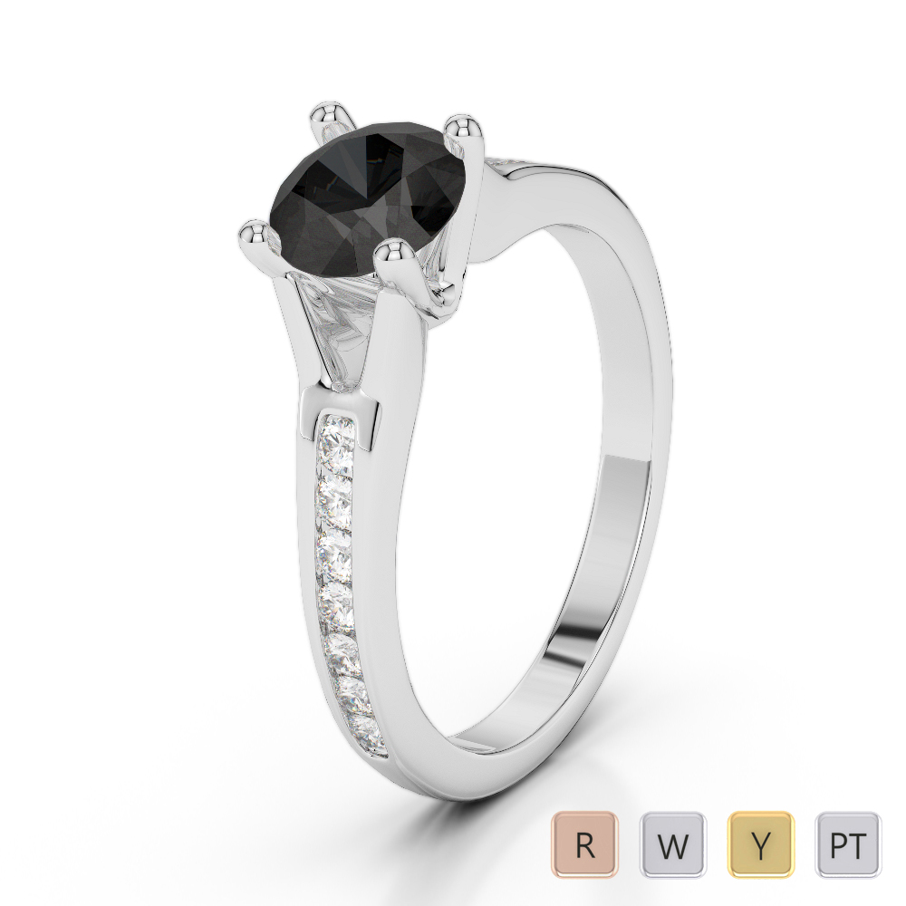 Gold / Platinum Round Cut Black Diamond with Diamond Engagement Ring AGDR-2048