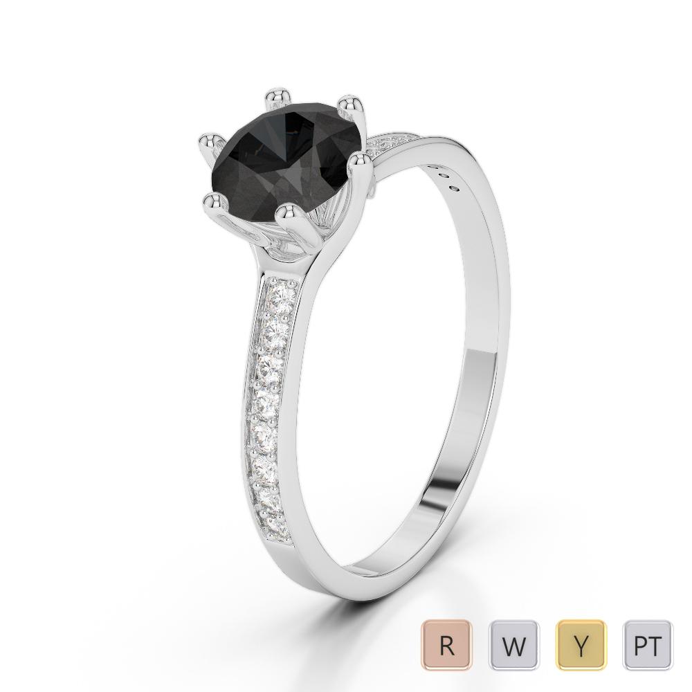Gold / Platinum Round Cut Black Diamond with Diamond Engagement Ring AGDR-2050