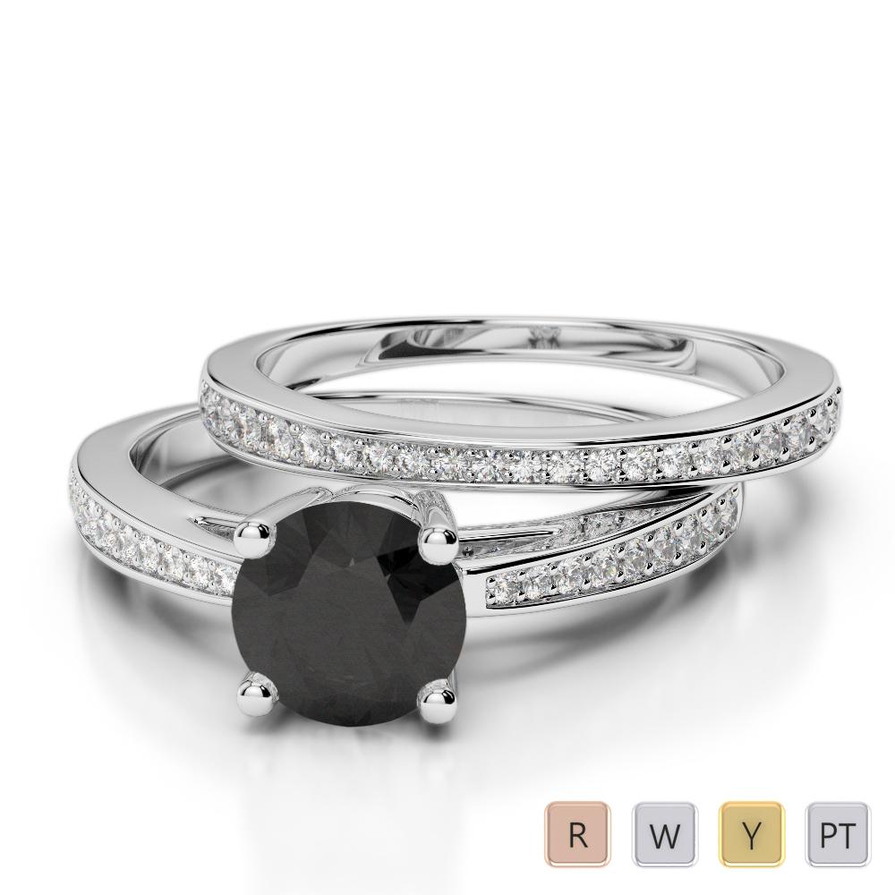 Gold / Platinum Round cut Black Diamond with Diamond Bridal Set Ring AGDR-2051