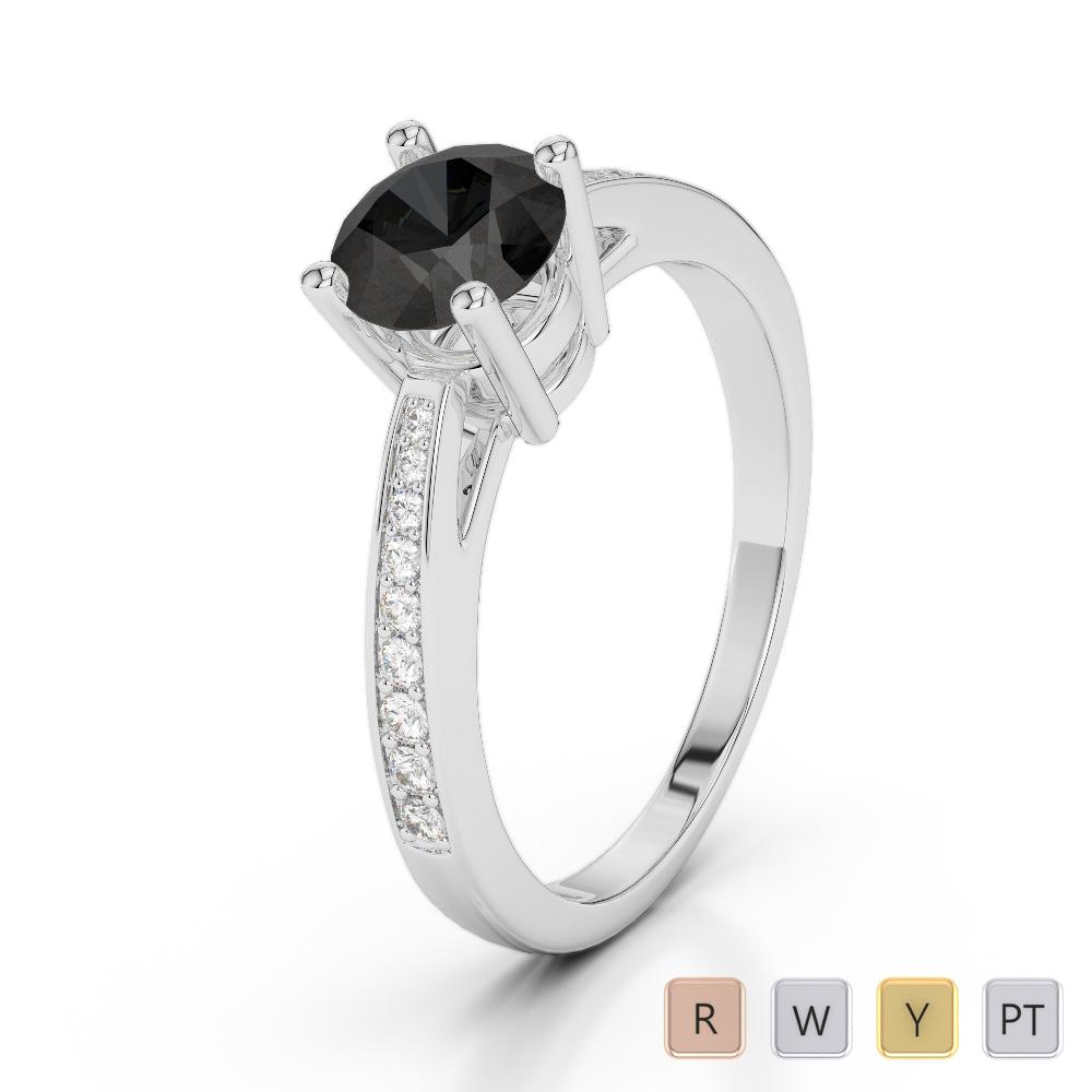 Gold / Platinum Round Cut Black Diamond with Diamond Engagement Ring AGDR-2052