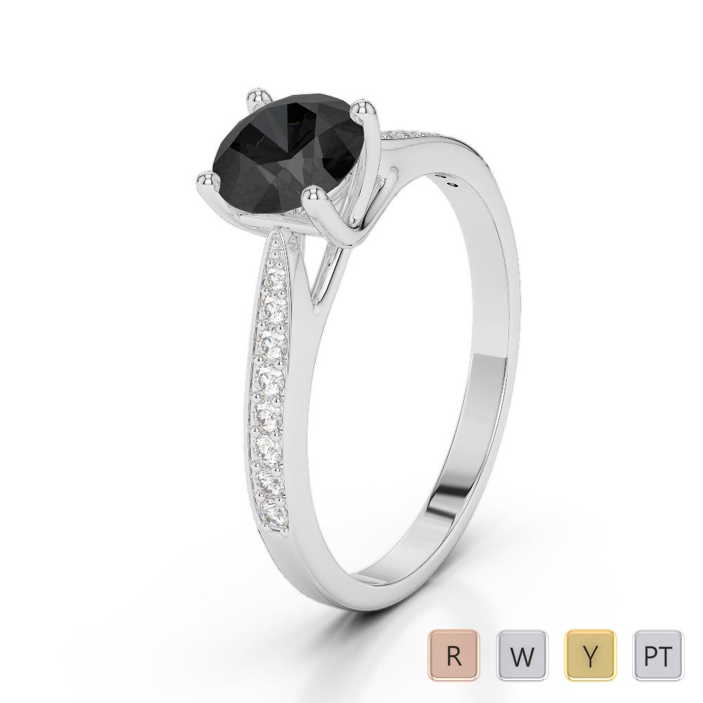 Gold / Platinum Round Cut Black Diamond with Diamond Engagement Ring AGDR-2054