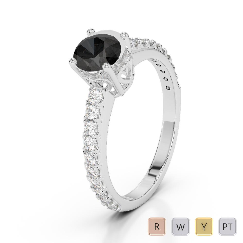 Gold / Platinum Round Cut Black Diamond with Diamond Engagement Ring AGDR-2056