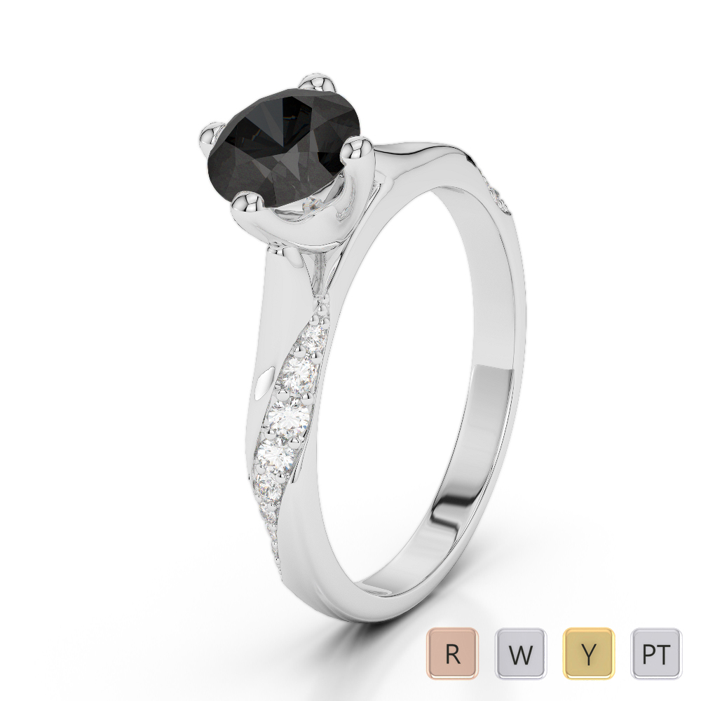 Gold / Platinum Round Cut Black Diamond with Diamond Engagement Ring AGDR-2060