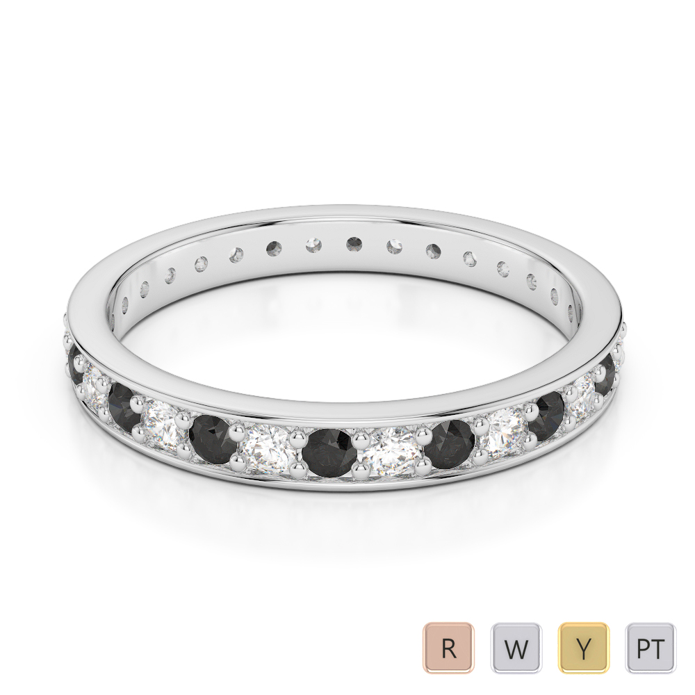2.5 MM Gold / Platinum Round Cut Black Diamond with Diamond Full Eternity Ring AGDR-1079