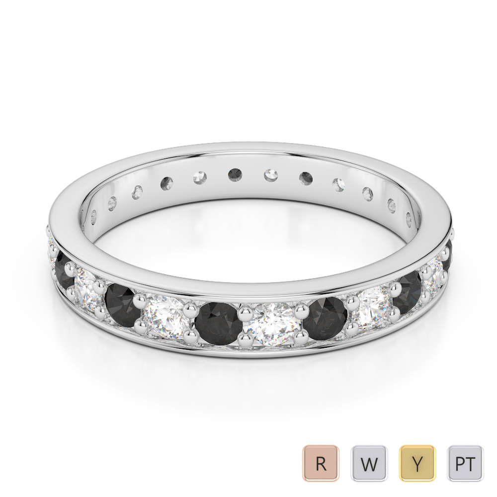 Gold / Platinum Round Cut Black Diamond with Diamond Full Eternity Ring AGDR-1080