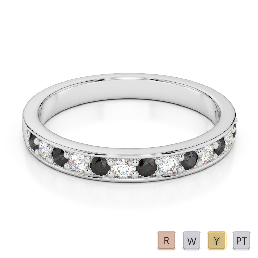 2.5 MM Gold / Platinum Round Cut Black Diamond with Diamond Half Eternity Ring AGDR-1083