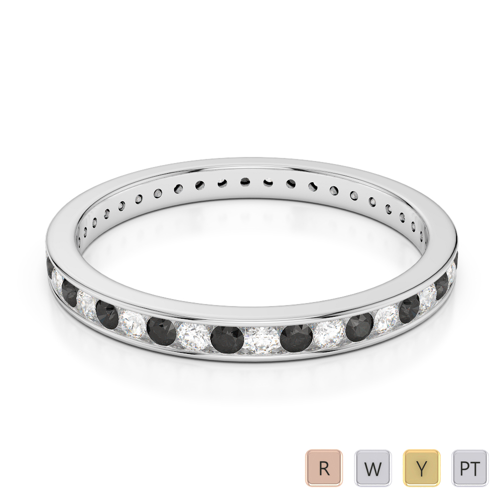 2.5 MM Gold / Platinum Round Cut Black Diamond with Diamond Full Eternity Ring AGDR-1086