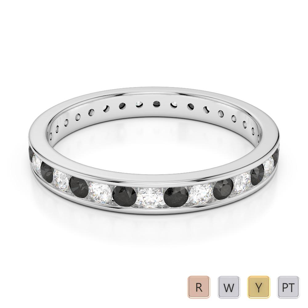 3 MM Gold / Platinum Round Cut Black Diamond with Diamond Full Eternity Ring AGDR-1087