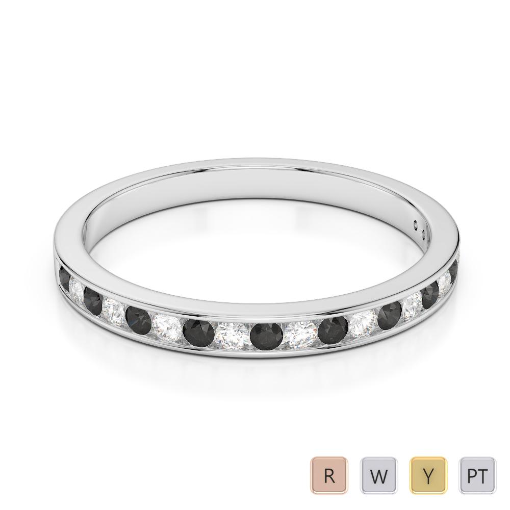 2.5 MM Gold / Platinum Round Cut Black Diamond with Diamond Half Eternity Ring AGDR-1089
