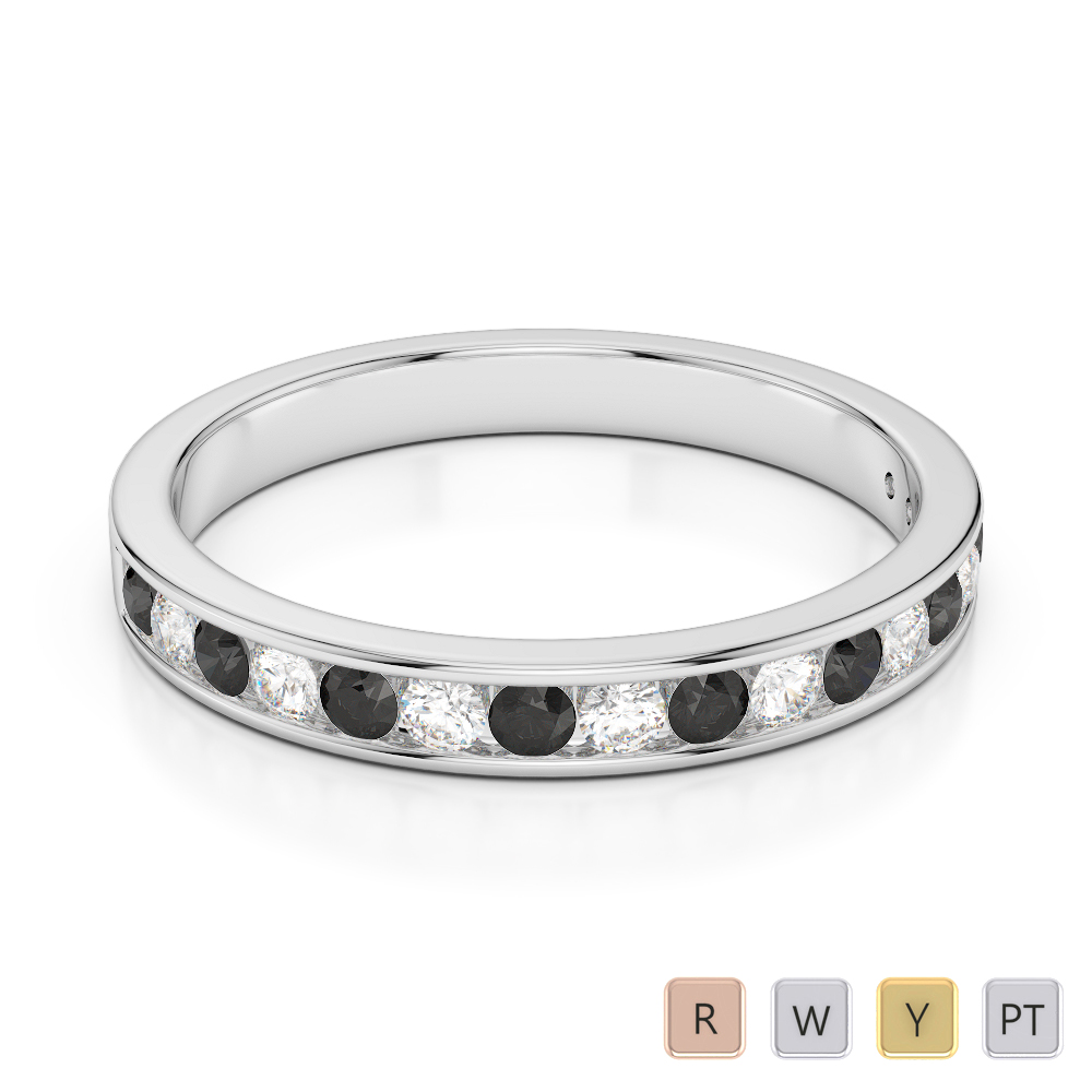 3 MM Gold / Platinum Round Cut Black Diamond with Diamond Half Eternity Ring AGDR-1090