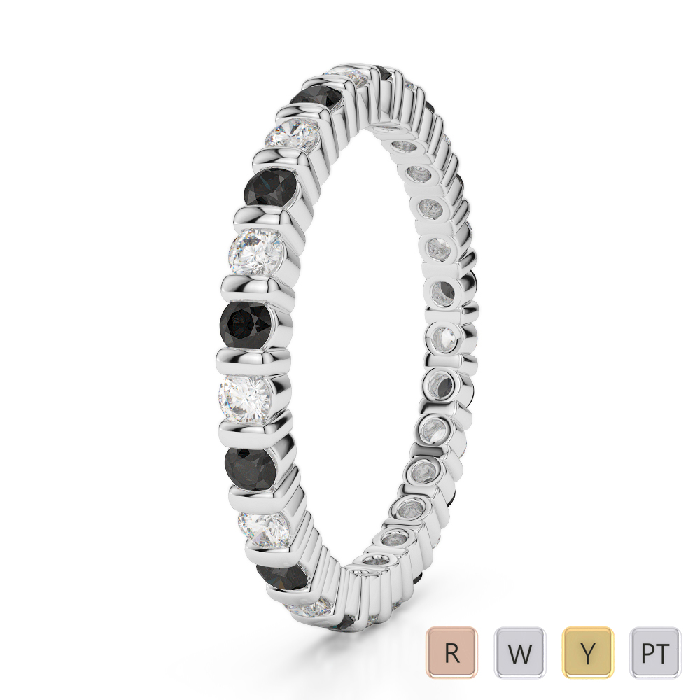 2 MM Gold / Platinum Round Cut Black Diamond with Diamond Full Eternity Ring AGDR-1092
