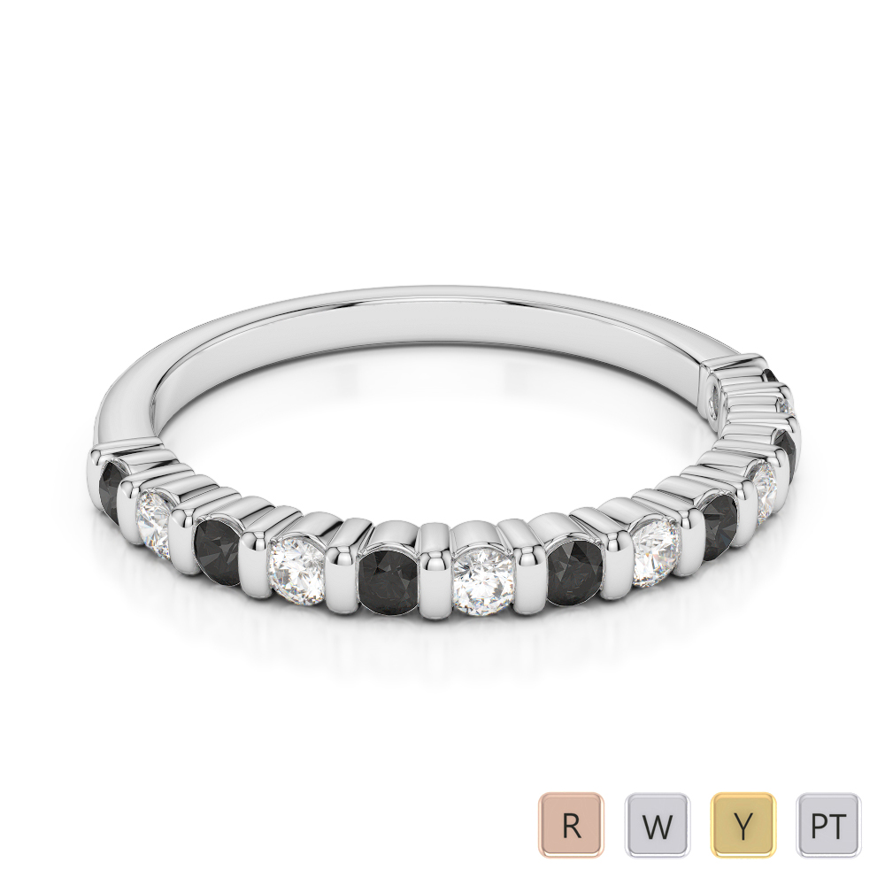 Gold / Platinum Round Cut Black Diamond with Diamond Half Eternity Ring AGDR-1095