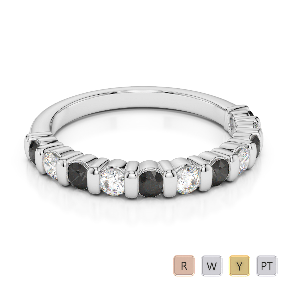 Gold / Platinum Round Cut Black Diamond with Diamond Half Eternity Ring AGDR-1096