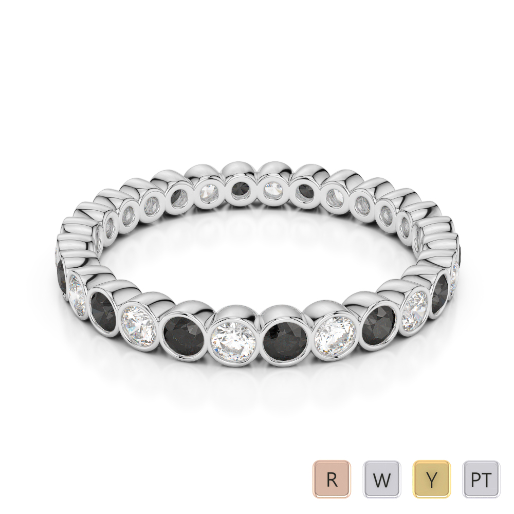 2.5 MM Gold / Platinum Round Cut Black Diamond with Diamond Full Eternity Ring AGDR-1099