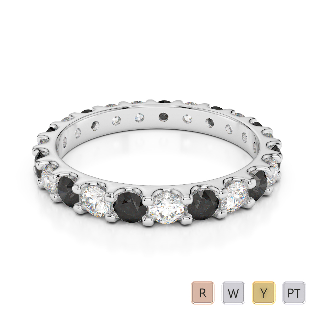 2.5 MM Gold / Platinum Round Cut Black Diamond with Diamond Full Eternity Ring AGDR-1105