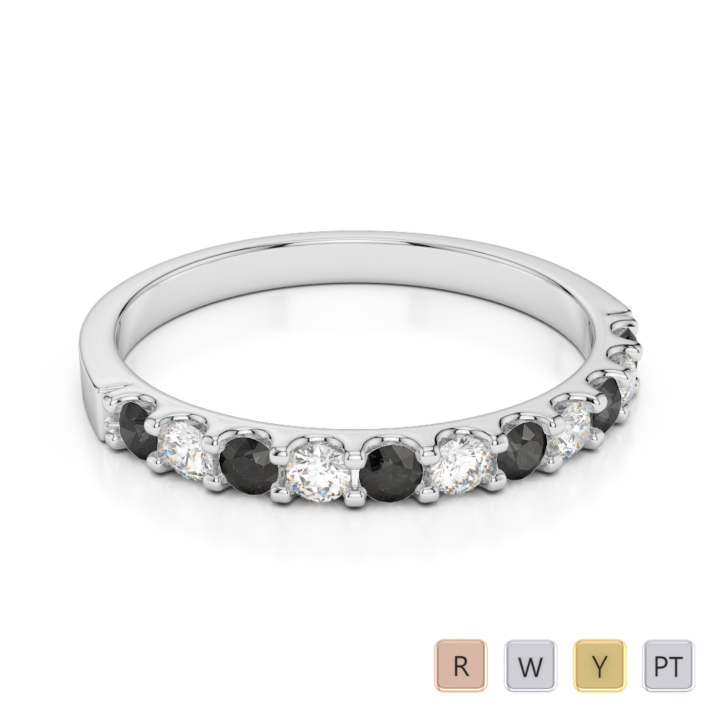 2 MM Gold / Platinum Round Cut Black Diamond with Diamond Half Eternity Ring AGDR-1107