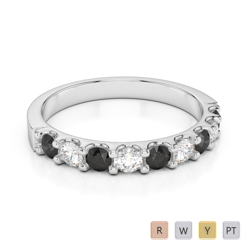 2.5 MM Gold / Platinum Round Cut Black Diamond with Diamond Half Eternity Ring AGDR-1108