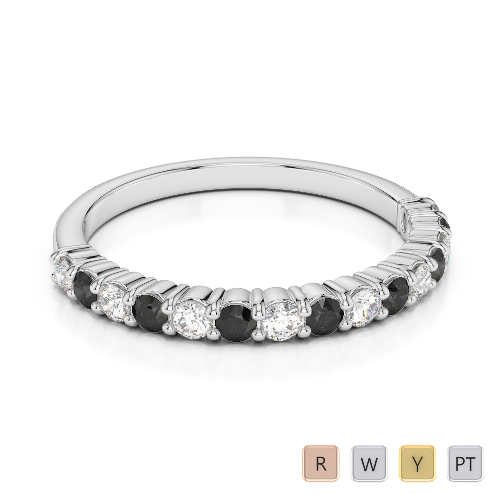 Gold / Platinum Round Cut Black Diamond with Diamond Half Eternity Ring AGDR-1113