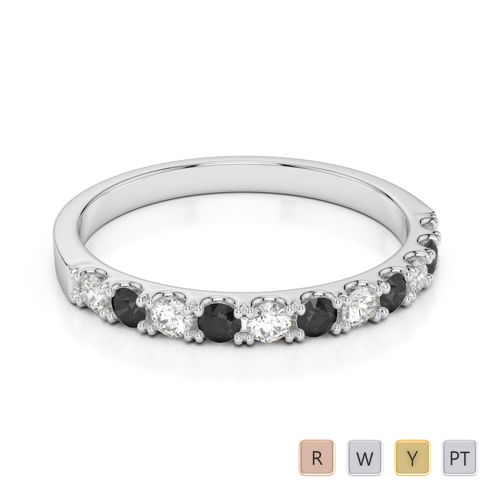 2 MM Gold / Platinum Round Cut Black Diamond with Diamond Half Eternity Ring AGDR-1123