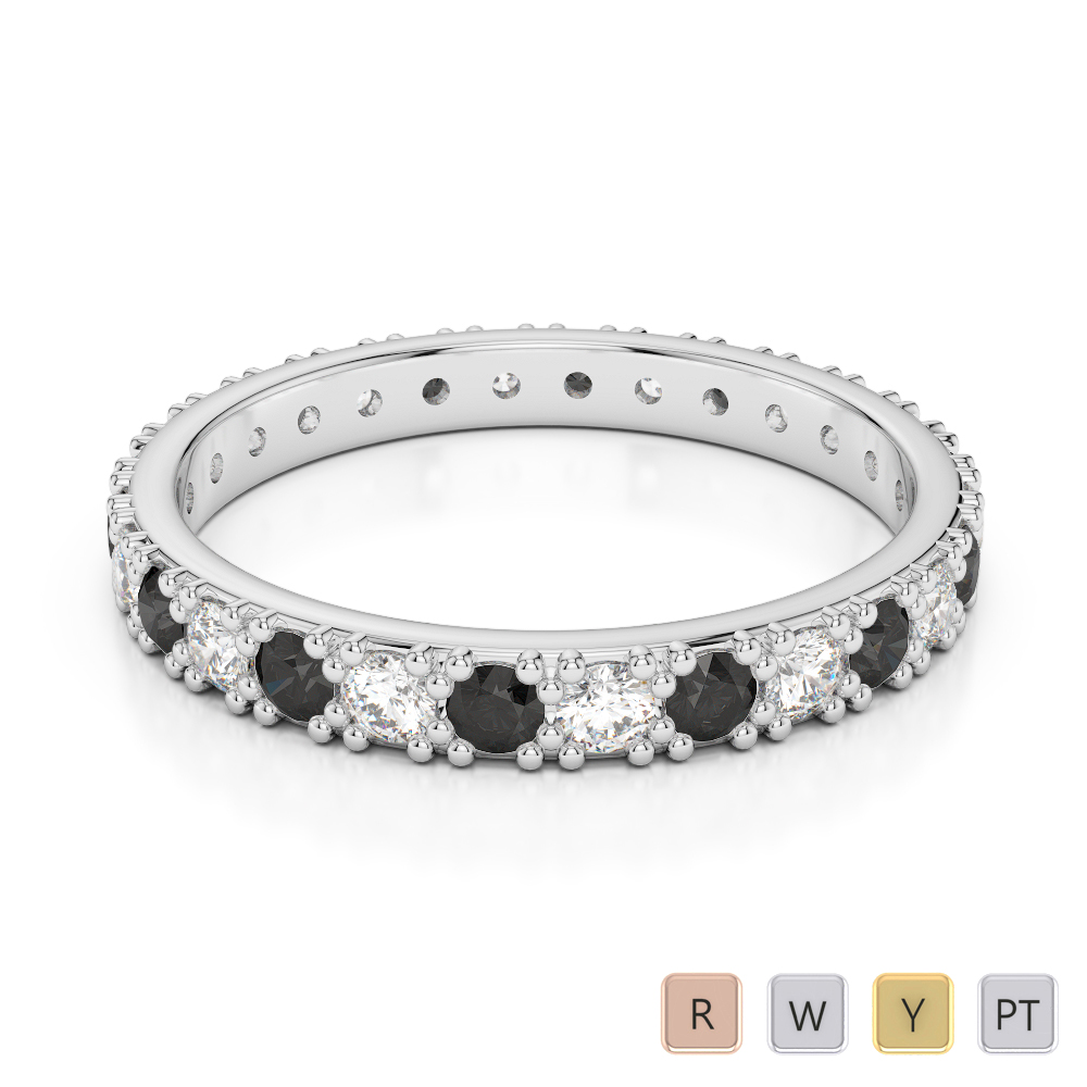 2.5 MM Gold / Platinum Round Cut Black Diamond with Diamond Full Eternity Ring AGDR-1127