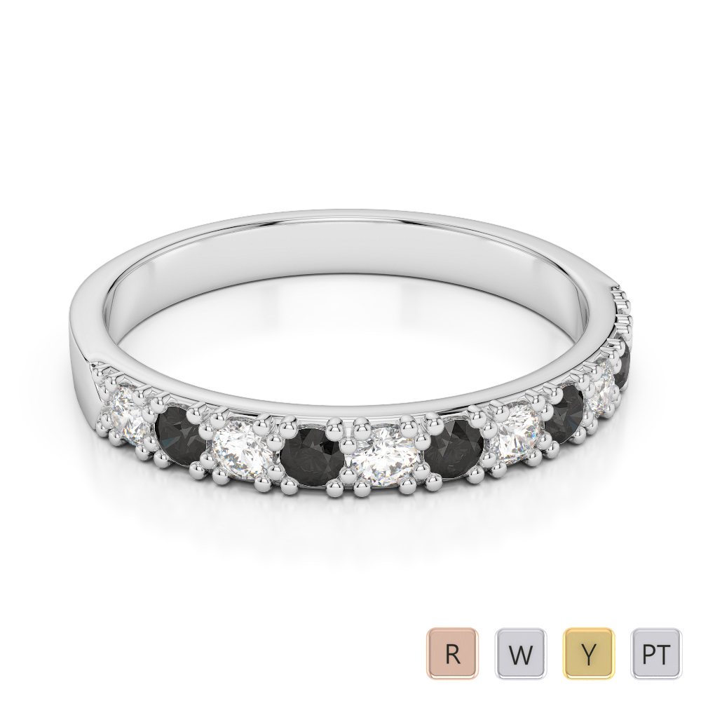 3 MM Gold / Platinum Round Cut Black Diamond with Diamond Half Eternity Ring AGDR-1130