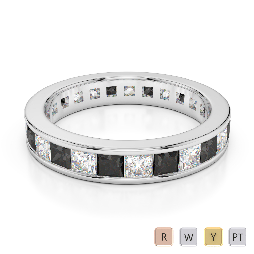 Gold / Platinum Princess Cut Black Diamond with Diamond Full Eternity Ring AGDR-1134