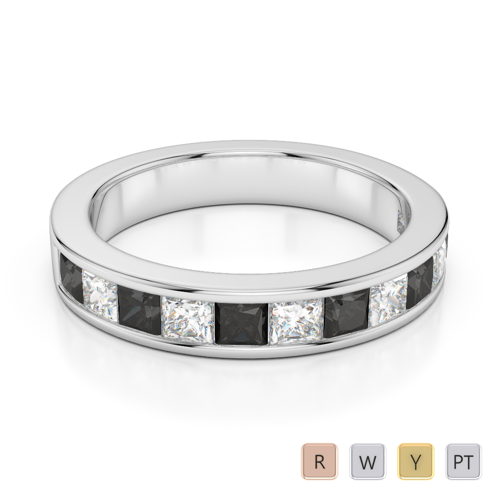Gold / Platinum Princess Cut Black Diamond with Diamond Half Eternity Ring AGDR-1137