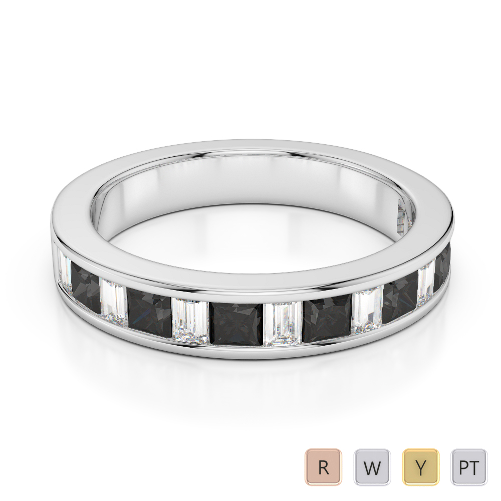 4 MM Gold / Platinum Princess and Baguette Cut Black Diamond with Diamond Half Eternity Ring AGDR-1143