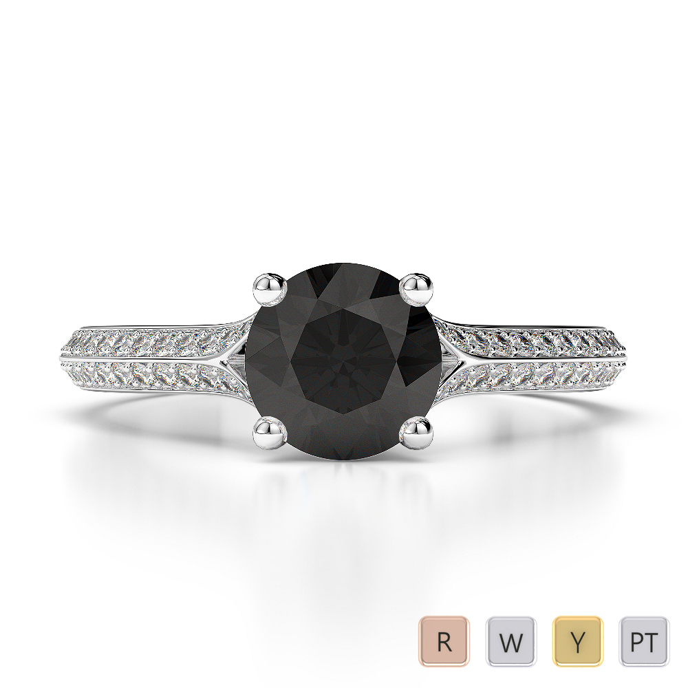 Gold / Platinum Round Cut Black Diamond with Diamond Engagement Ring AGDR-1200