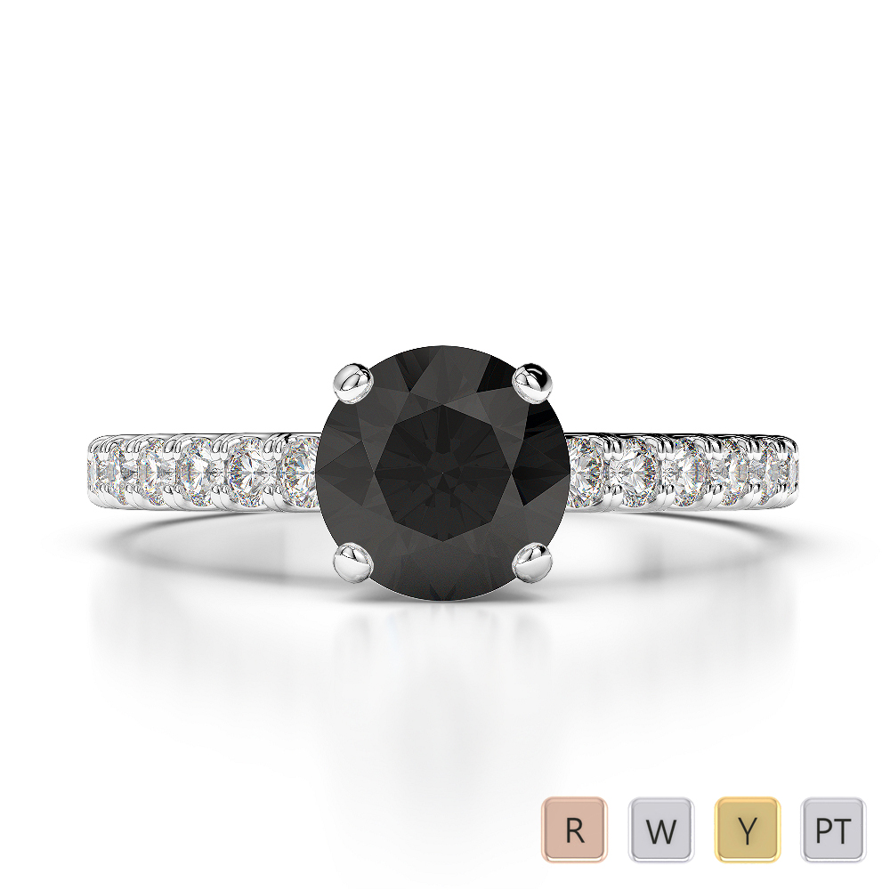 Gold / Platinum Round Cut Black Diamond with Diamond Engagement Ring AGDR-1201