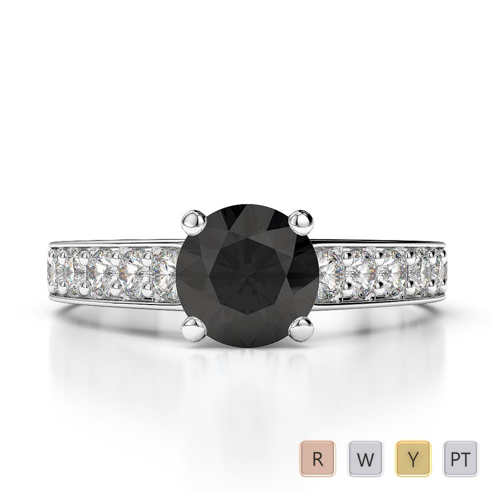 Gold / Platinum Round Cut Black Diamond with Diamond Engagement Ring AGDR-1202