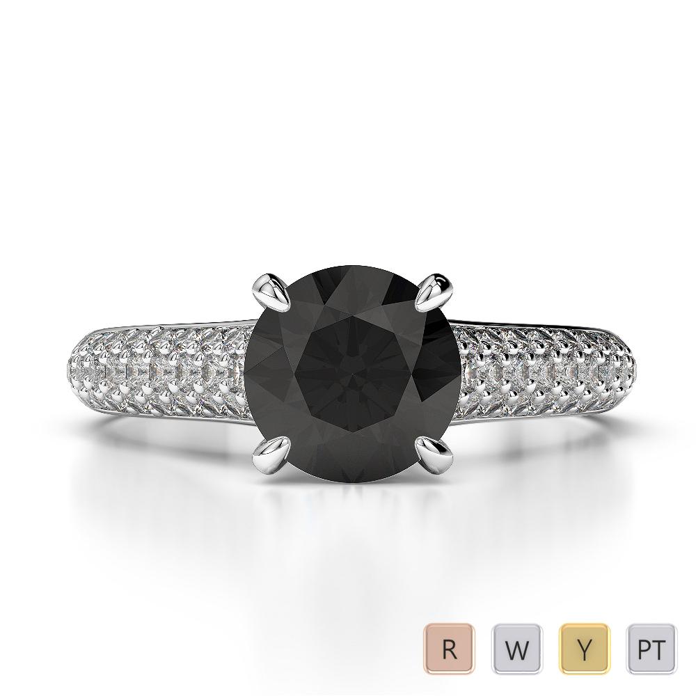 Gold / Platinum Round Cut Black Diamond with Diamond Engagement Ring AGDR-1203
