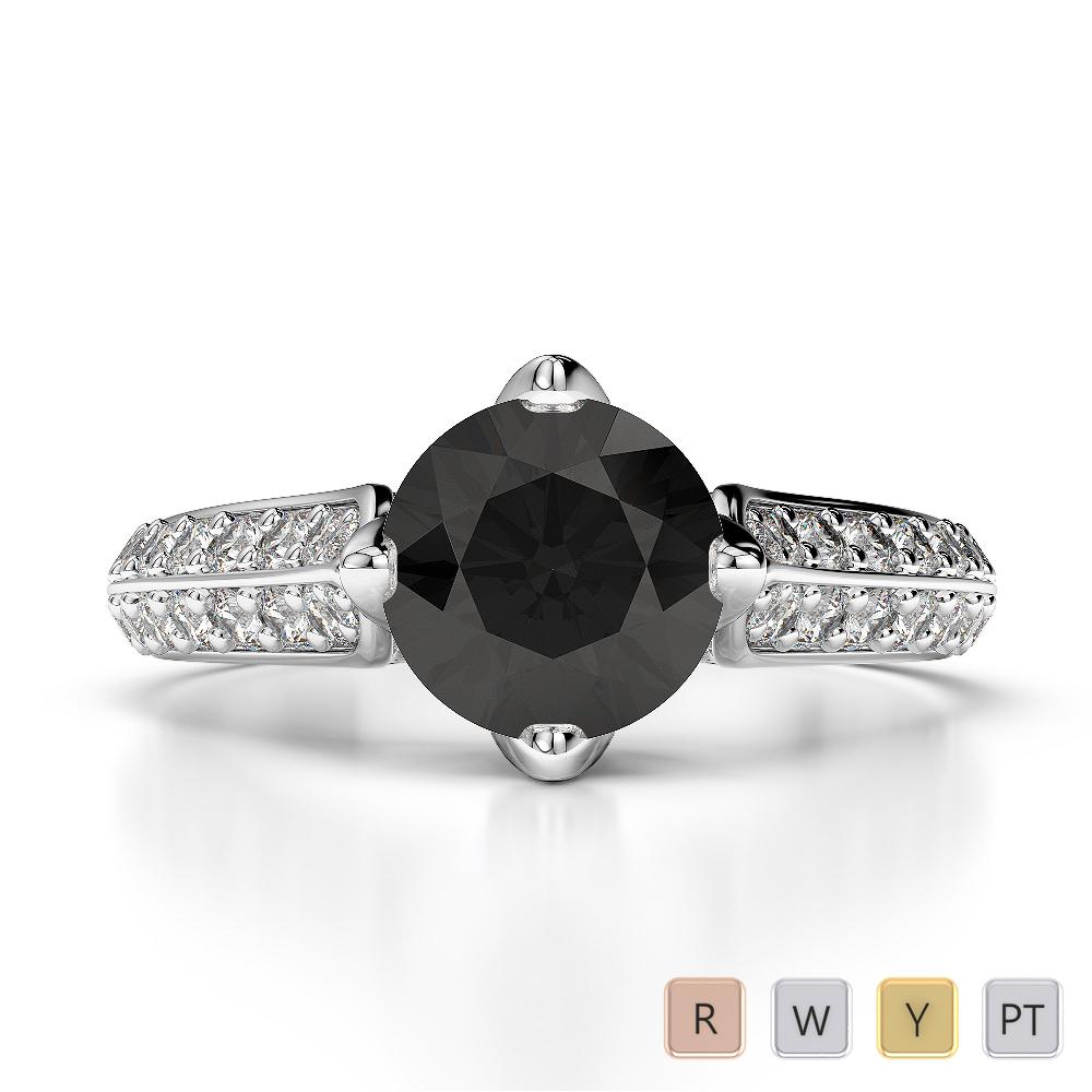 Gold / Platinum Round Cut Black Diamond with Diamond Engagement Ring AGDR-1205