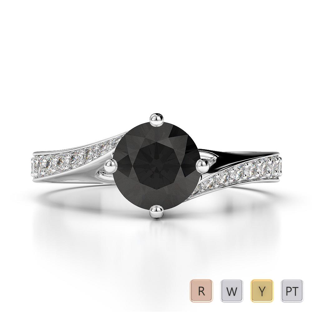Gold / Platinum Round Cut Black Diamond with Diamond Engagement Ring AGDR-1207