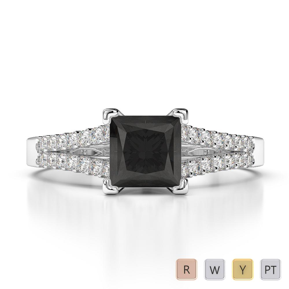 Gold / Platinum Round and Princess Cut Black Diamond with Diamond Engagement Ring AGDR-1211