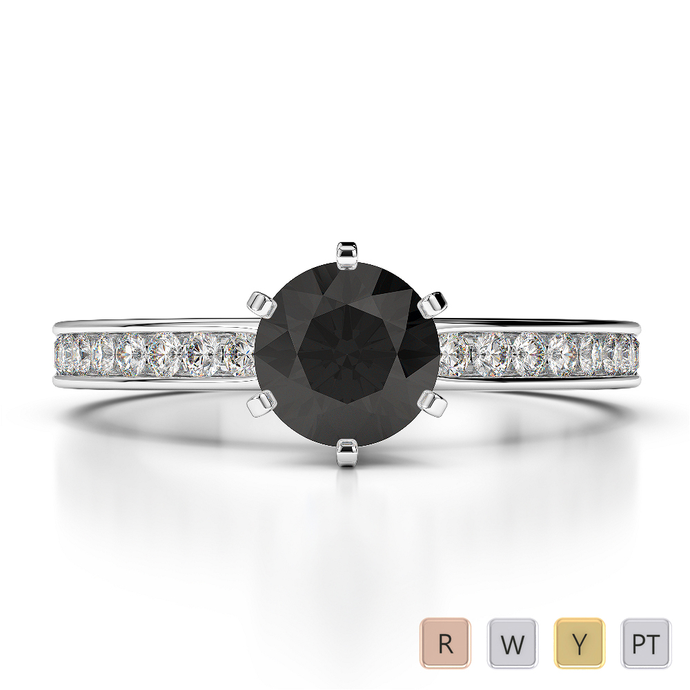 Gold / Platinum Round Cut Black Diamond with Diamond Engagement Ring AGDR-1214