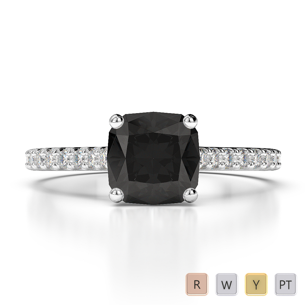 Gold / Platinum Round and Cushion Cut Black Diamond with Diamond Engagement Ring AGDR-1216