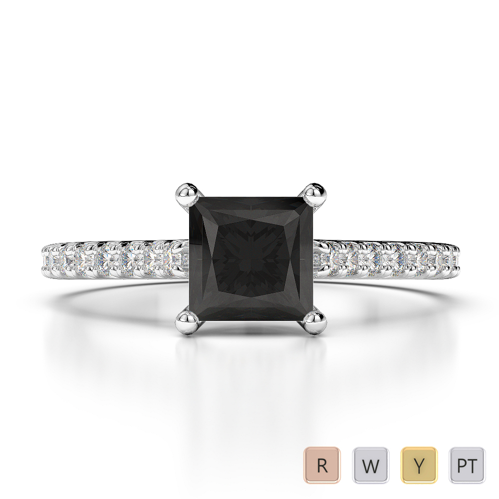 Gold / Platinum Round and Princess Cut Black Diamond with Diamond Engagement Ring AGDR-1217