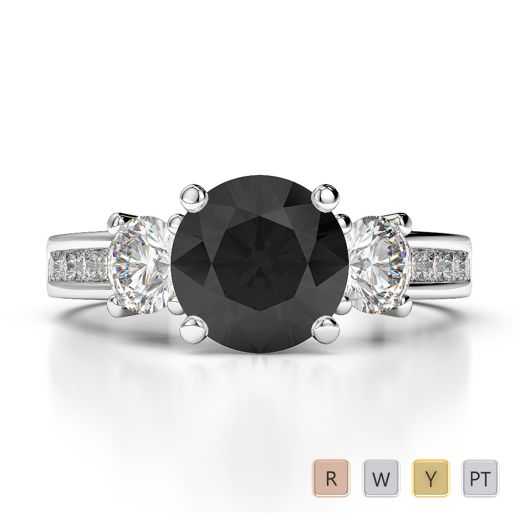 Gold / Platinum Round Cut Black Diamond with Diamond Engagement Ring AGDR-1218