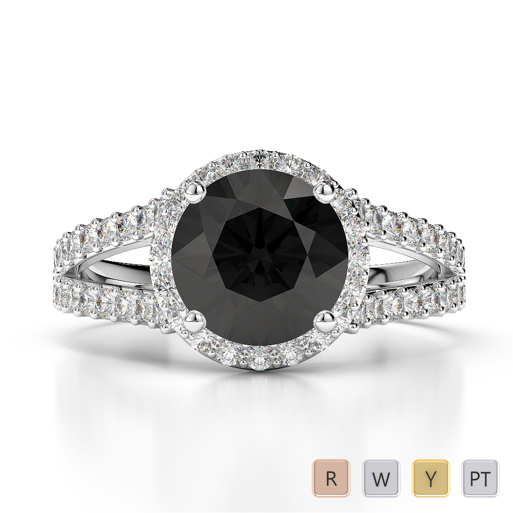 Gold / Platinum Round Cut Black Diamond with Diamond Engagement Ring AGDR-1220